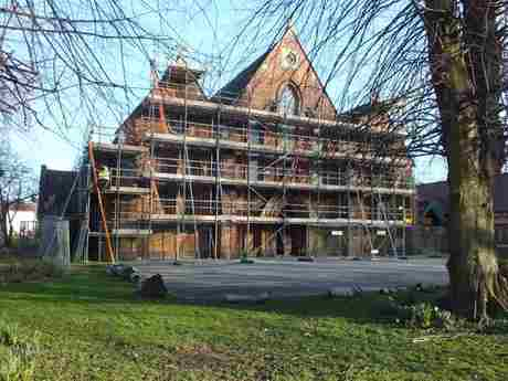 The exterior of the church with scaffolding erected (1)