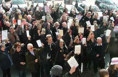 library protest March 15