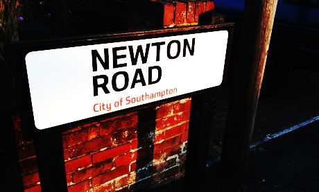 newton road sign stylised 460