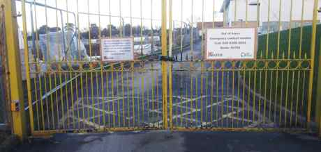 secondary school gates construction sign