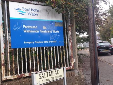 southern water treatment works sign