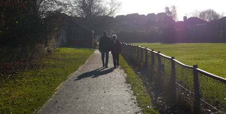 park footpath behind school couple