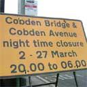 bridge closed at night sign